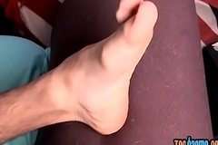 Attractive foot fetish sweetheart grabs his chunky dong to wank