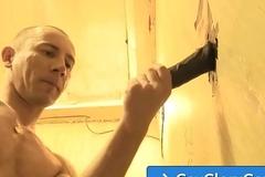 Adrian Troy gay gloryhole dick engulfing nearby Justin Blayde