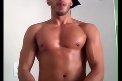 Hot Cheerful Latino Model Jerking his cock upstairs Cam
