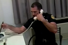 Manly cop fucks a horny gay beam in his office
