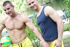 GAYWIRE - Public Cheerful Sexual congress Featuring Euro Studs Chris and Luc