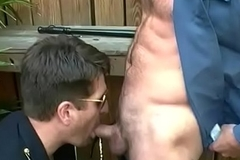 Beamy locate cops swell up and lick each other off at outdoors