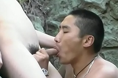 Mini Asian crystal set receives the brush cock sucked by horny guy