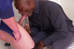 Suspended deathly stud assfucked in office toilet