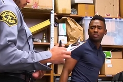 Security officer destroys a juvenile ebony shoplifters bore
