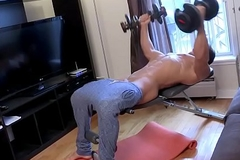 Muscle Jock Stroking His Obese Dong