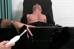 Bald clog likes is feet and body tickling by an older coxcomb