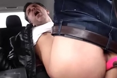 Hot amateur daddy toying bore give the passenger car