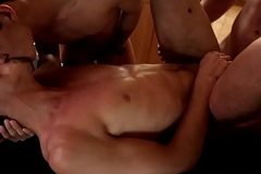 In person ramrods assfucking in threesome scene