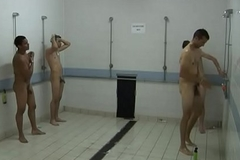 Spying insusceptible to Footballers LockerRoom Gang Shower
