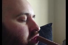 Hot bearded guy gagging on euphonic bar.