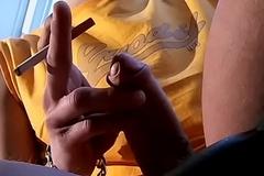 Shy smoker Stone gets unperturbed and strokes his pecker