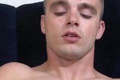 Solo marine tugging his fat cock in closeup
