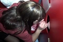 Cheating wife sucking and shafting save up of cocks in the lead gloryhole