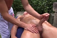 Martin Polnak spanks and masturbates off Reece Andrews outdoors