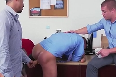 Assfucked stud sprays spunk close to office polish