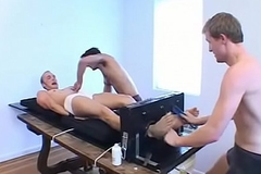 Submissive stud restrained and tickled by kinky twinks