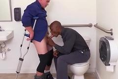 Employed black stud assfucked elbow the toilet