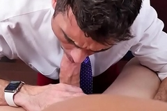 Office stud fucked into ass after cockblowing