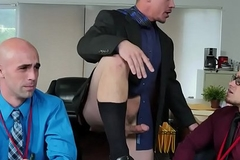 Cocksucking office stud assfucked almost threeway