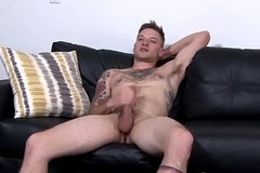 Inked soldier jerking off