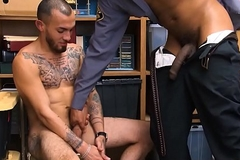 Straight Latino Sponger With Tattoos Screwed By Swarthy Delighted Security Officer With Huge Dig up